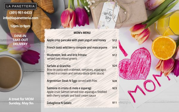 Mothers Day Menu 2021